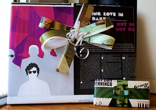 Magazines as wrapping paper.