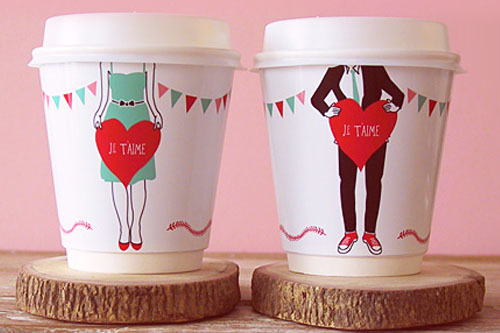 Je T'aime Coffee Cup Wrappers